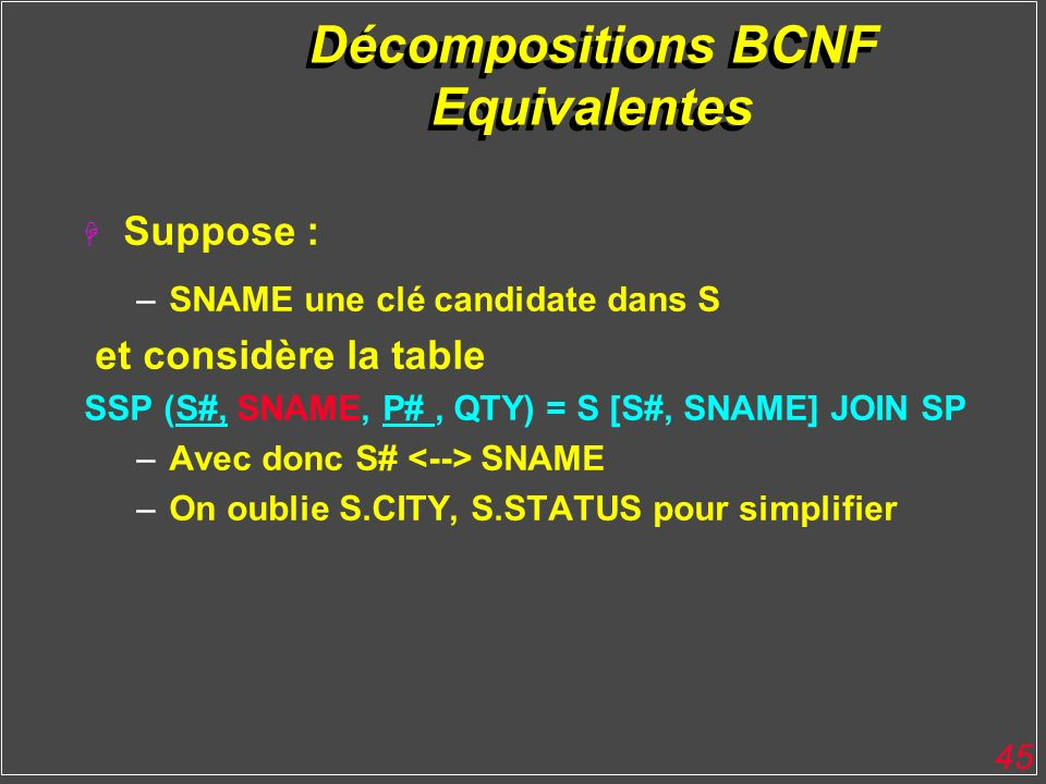 Décompositions BCNF Equivalentes