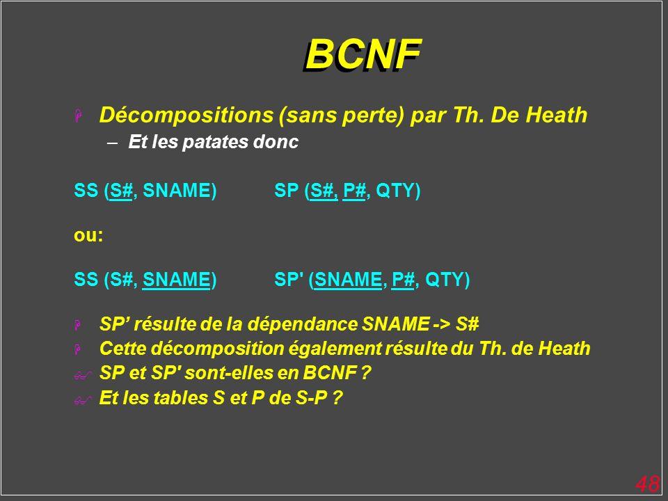 BCNF Décompositions (sans perte) par Th. De Heath Et les patates donc