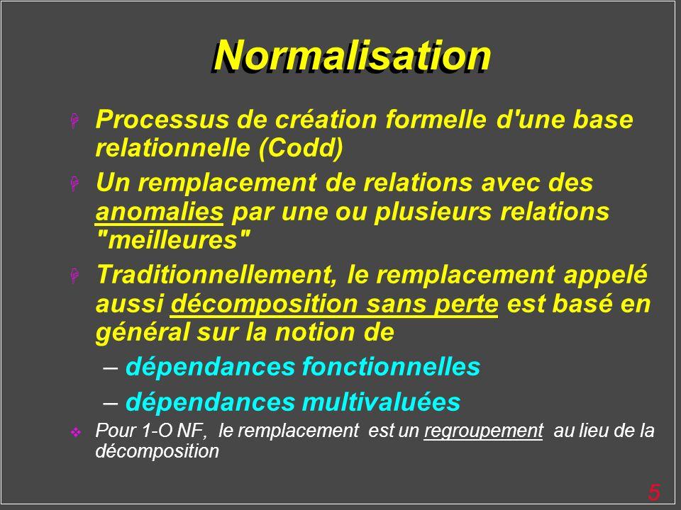 Normalisation Processus de création formelle d une base relationnelle (Codd)