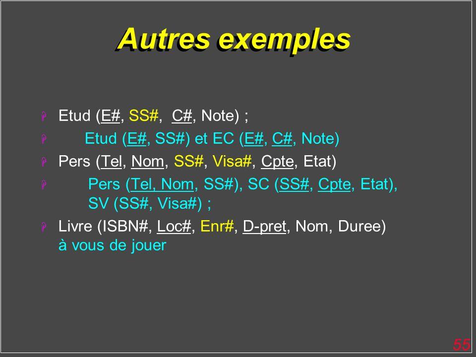 Autres exemples Etud (E#, SS#, C#, Note) ;