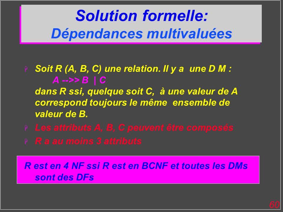 Solution formelle: Dépendances multivaluées