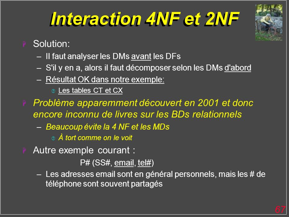 Interaction 4NF et 2NF Solution: