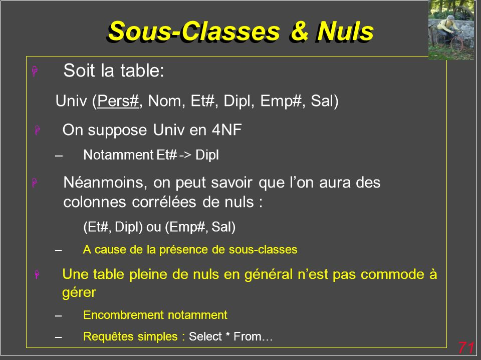 Sous-Classes & Nuls Soit la table: