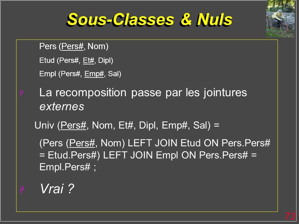 Sous-Classes & Nuls Vrai