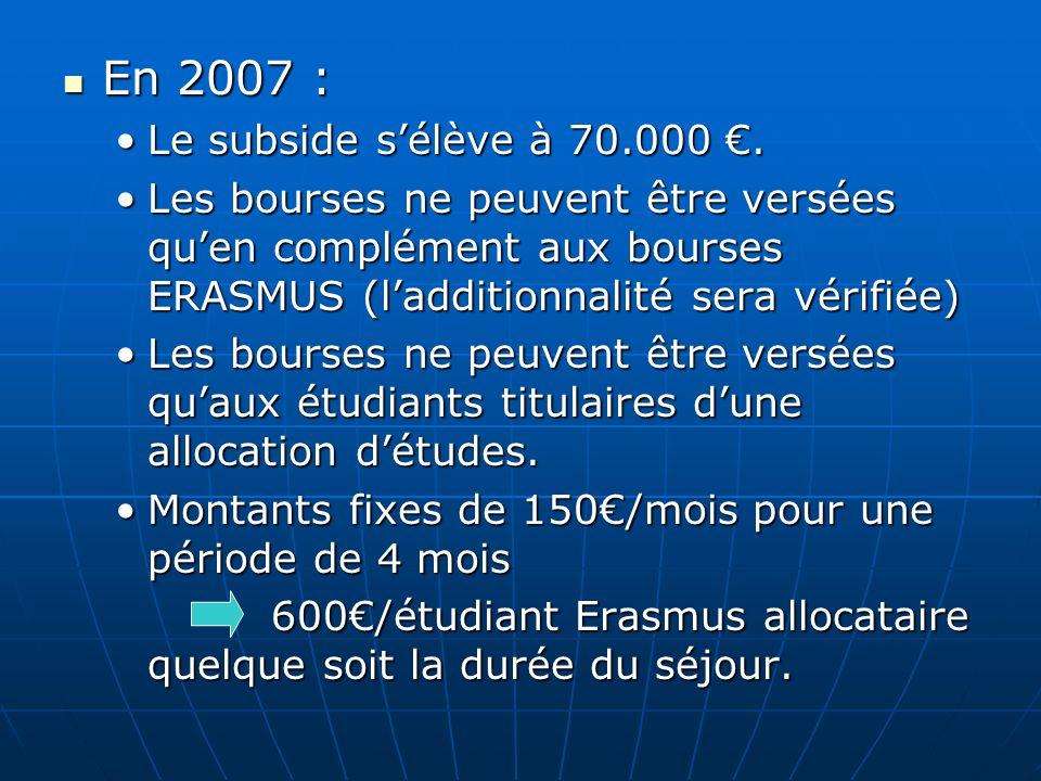 En 2007 : Le subside s'élève à 70.000 €.