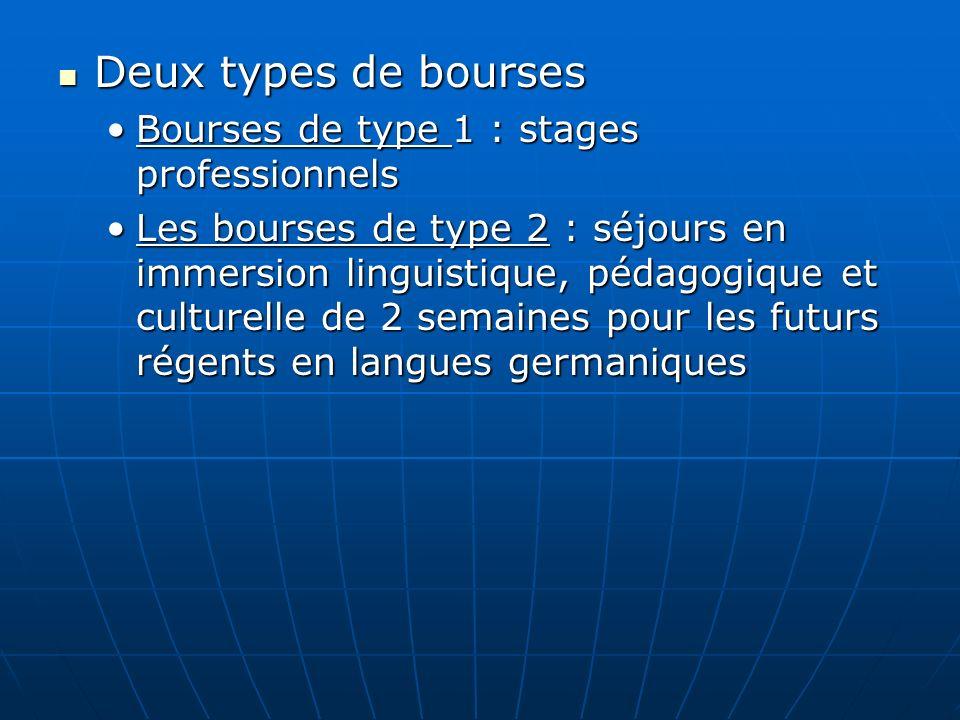 Deux types de bourses Bourses de type 1 : stages professionnels