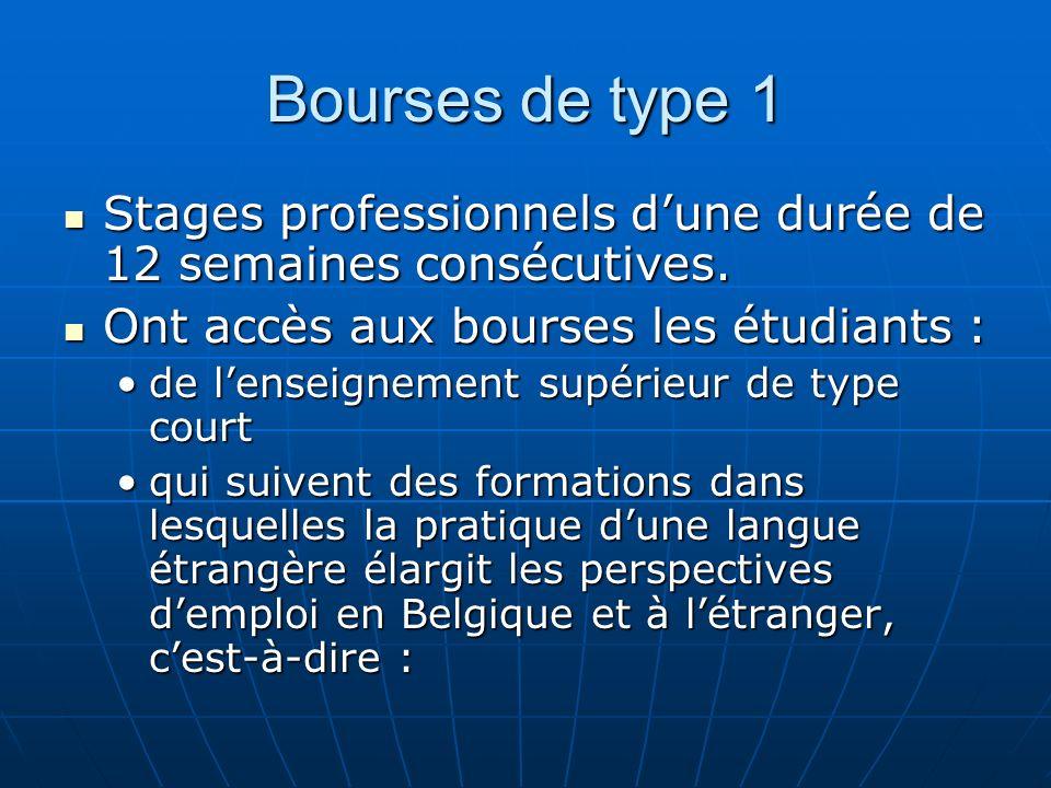 Bourses de type 1 Stages professionnels d'une durée de 12 semaines consécutives. Ont accès aux bourses les étudiants :