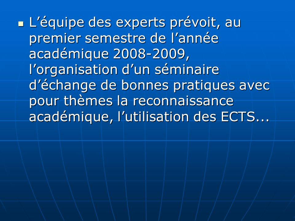 L'équipe des experts prévoit, au premier semestre de l'année académique 2008-2009, l'organisation d'un séminaire d'échange de bonnes pratiques avec pour thèmes la reconnaissance académique, l'utilisation des ECTS...