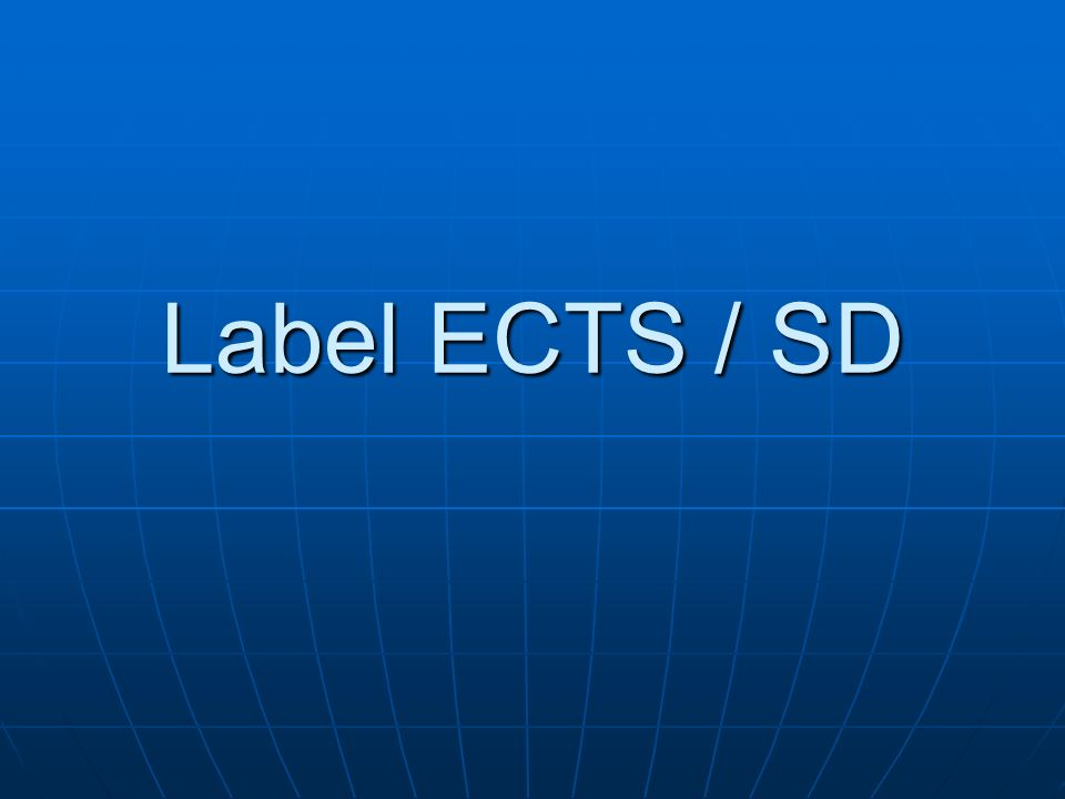 Label ECTS / SD 117