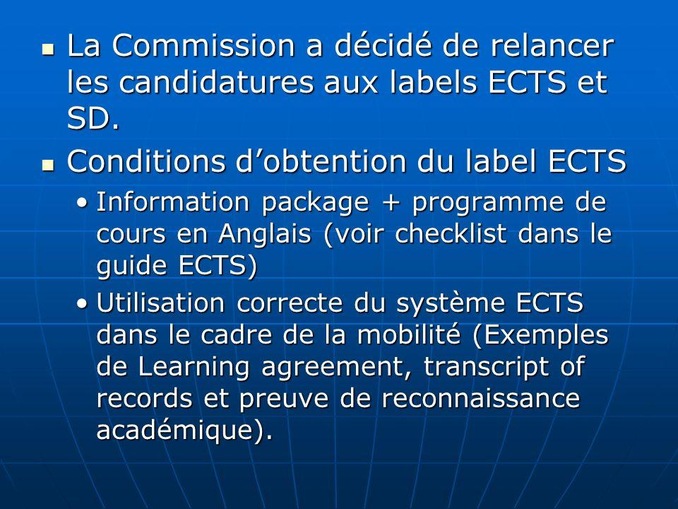 Conditions d'obtention du label ECTS