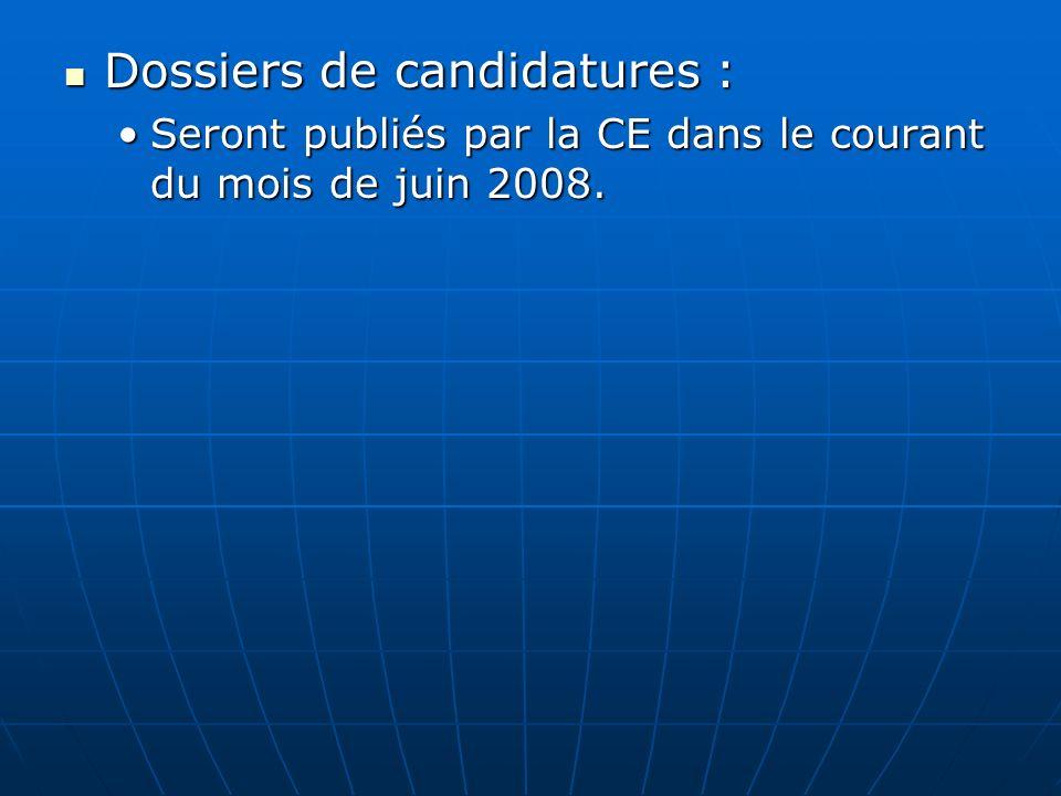 Dossiers de candidatures :
