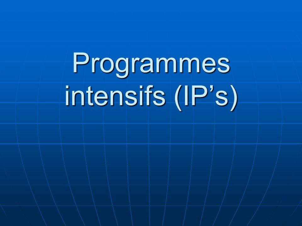 Programmes intensifs (IP's)