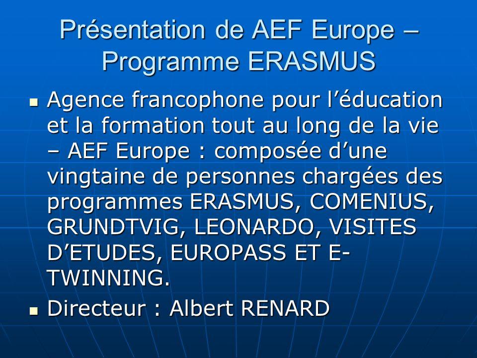 Présentation de AEF Europe – Programme ERASMUS
