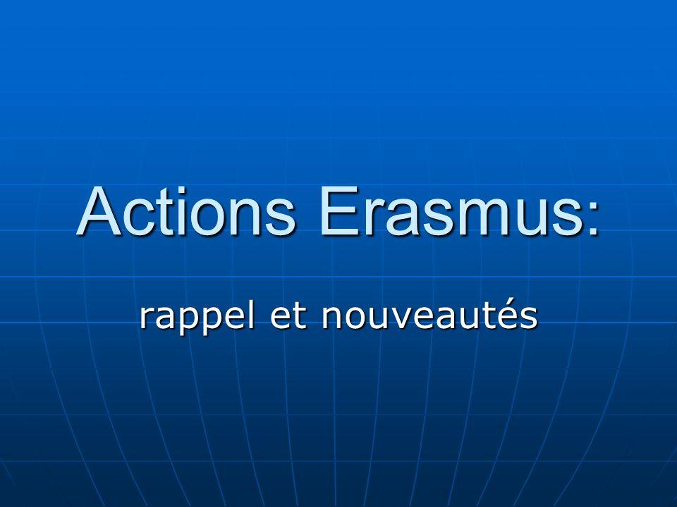 Actions Erasmus: rappel et nouveautés 33
