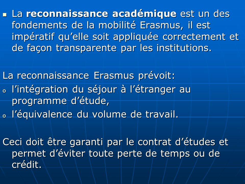 La reconnaissance Erasmus prévoit: