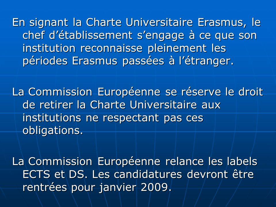 En signant la Charte Universitaire Erasmus, le chef d'établissement s'engage à ce que son institution reconnaisse pleinement les périodes Erasmus passées à l'étranger.
