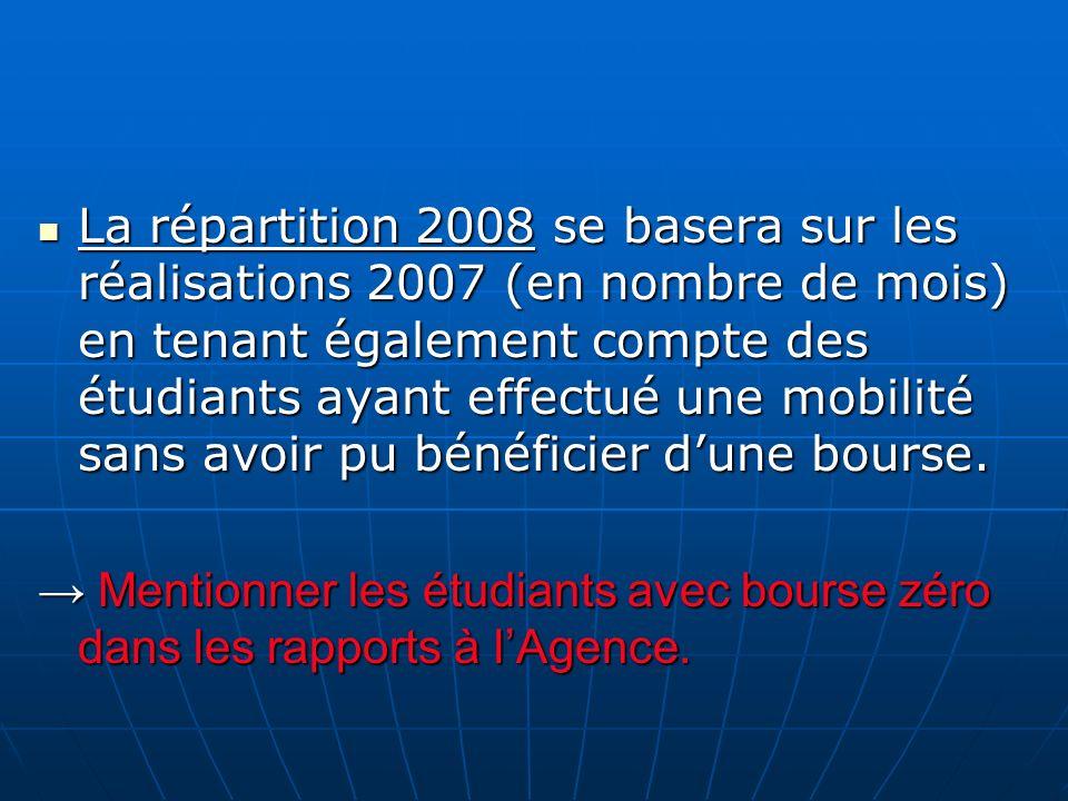La répartition 2008 se basera sur les réalisations 2007 (en nombre de mois) en tenant également compte des étudiants ayant effectué une mobilité sans avoir pu bénéficier d'une bourse.