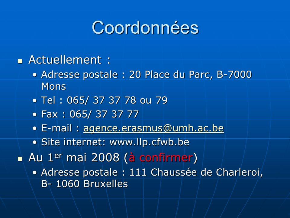Coordonnées Actuellement : Au 1er mai 2008 (à confirmer)