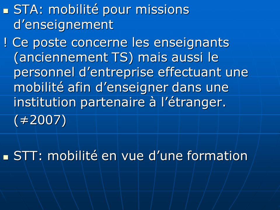 STA: mobilité pour missions d'enseignement