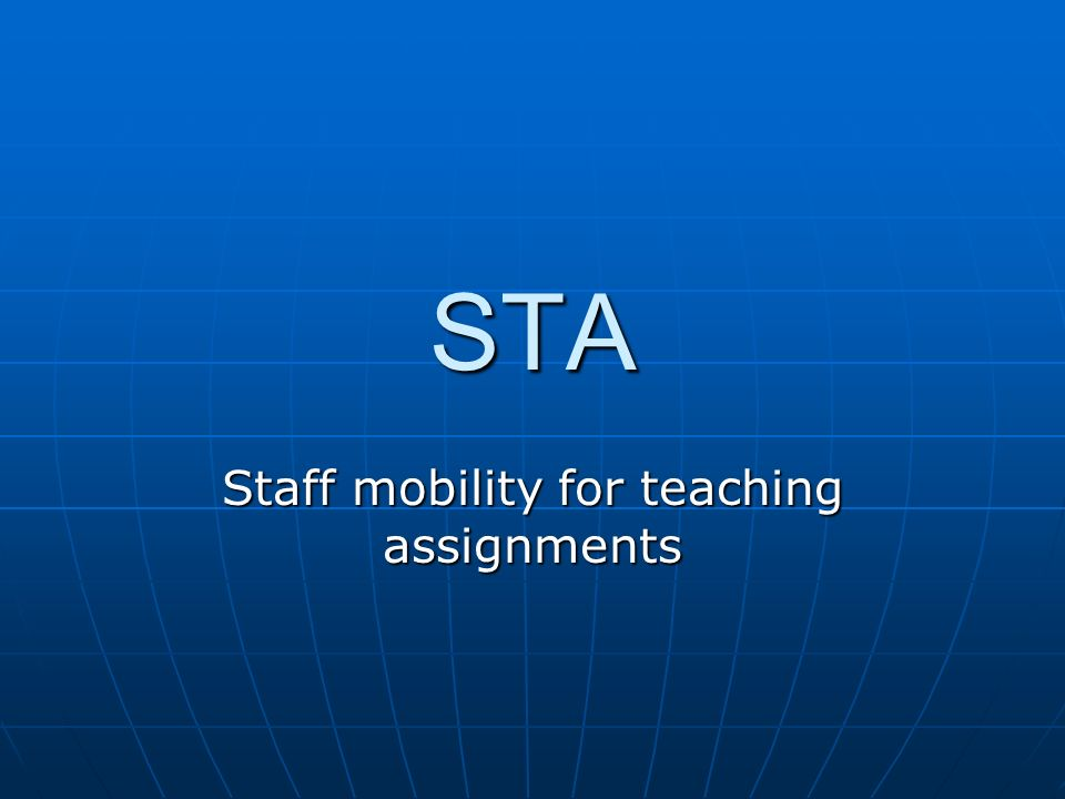 Staff mobility for teaching assignments