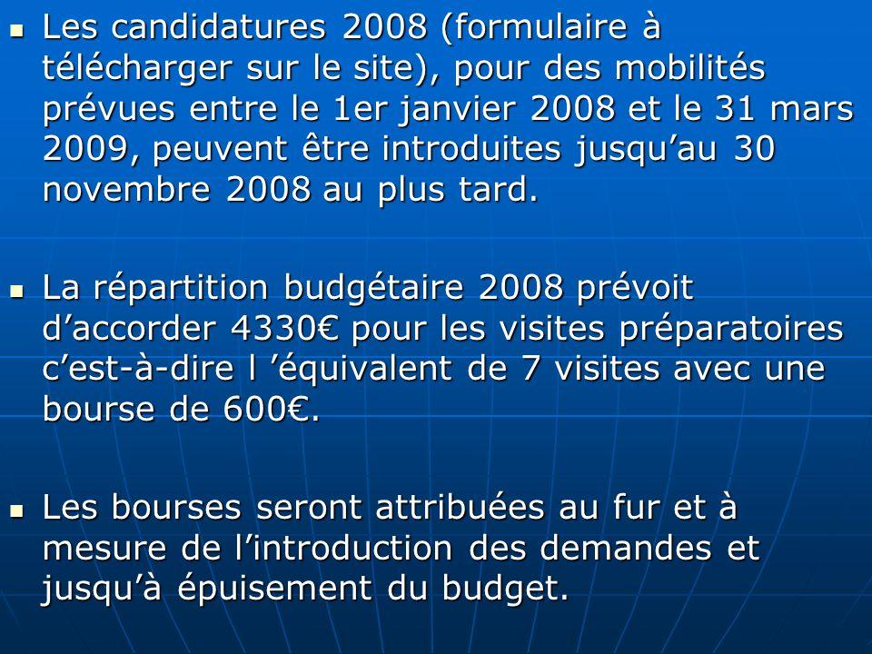 Les candidatures 2008 (formulaire à télécharger sur le site), pour des mobilités prévues entre le 1er janvier 2008 et le 31 mars 2009, peuvent être introduites jusqu'au 30 novembre 2008 au plus tard.
