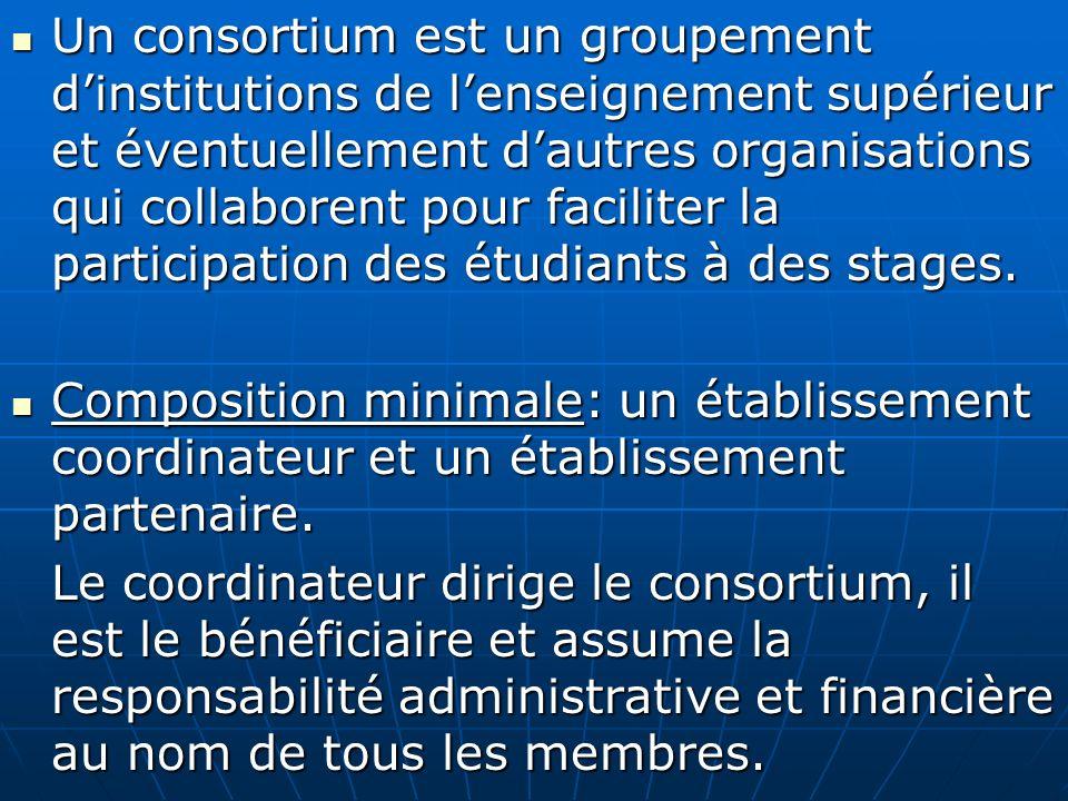 Un consortium est un groupement d'institutions de l'enseignement supérieur et éventuellement d'autres organisations qui collaborent pour faciliter la participation des étudiants à des stages.