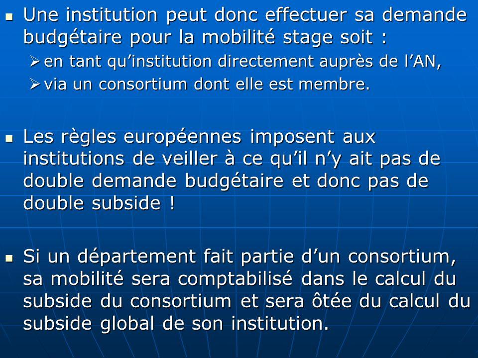 Une institution peut donc effectuer sa demande budgétaire pour la mobilité stage soit :