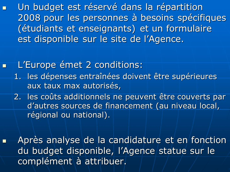 L'Europe émet 2 conditions: