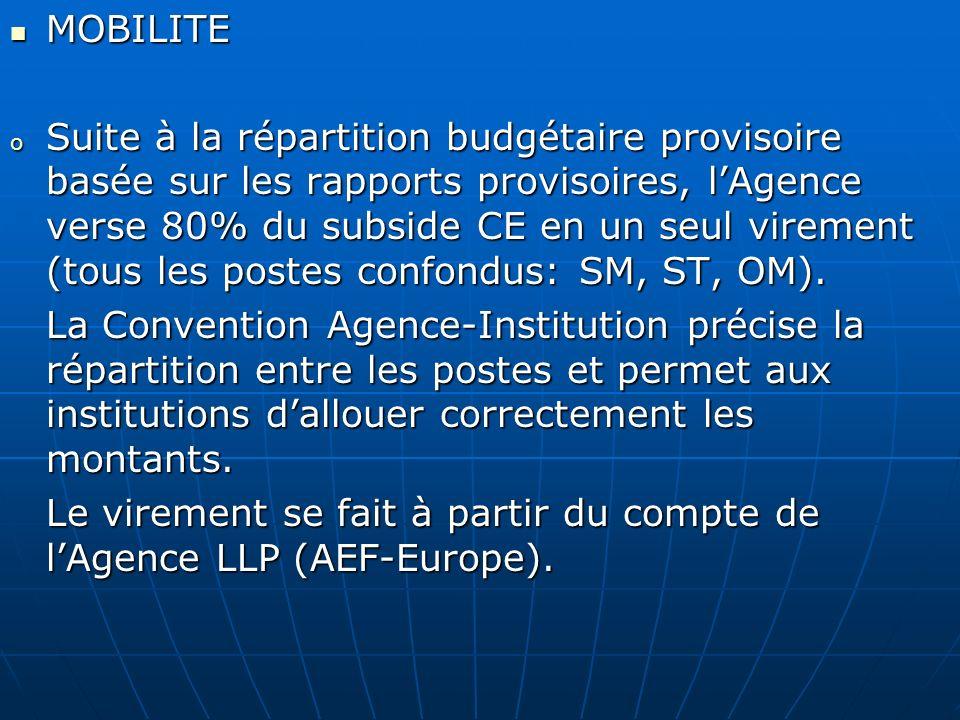 Le virement se fait à partir du compte de l'Agence LLP (AEF-Europe).