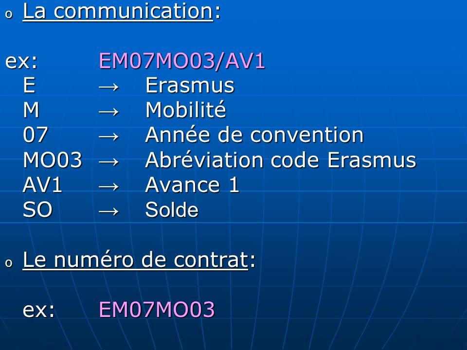 MO03 → Abréviation code Erasmus AV1 → Avance 1 SO → Solde