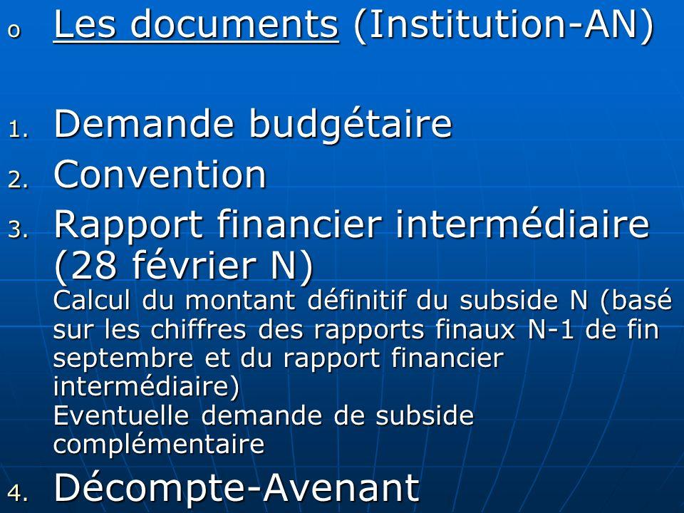 Les documents (Institution-AN) Demande budgétaire Convention