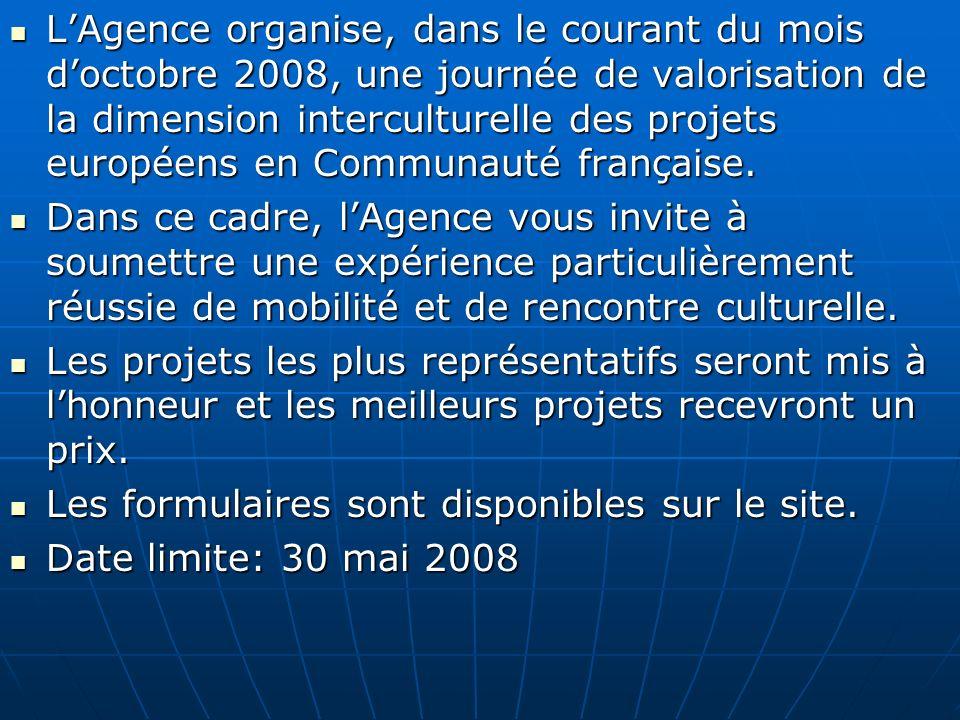 L'Agence organise, dans le courant du mois d'octobre 2008, une journée de valorisation de la dimension interculturelle des projets européens en Communauté française.