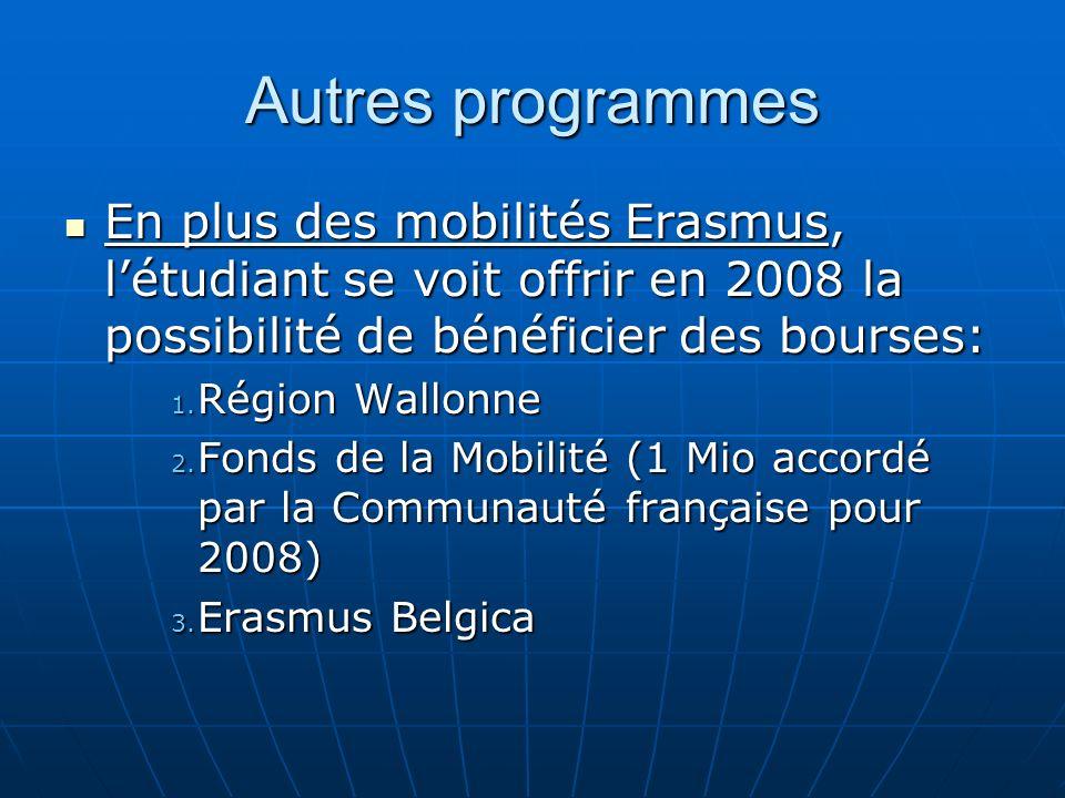 Autres programmes En plus des mobilités Erasmus, l'étudiant se voit offrir en 2008 la possibilité de bénéficier des bourses: