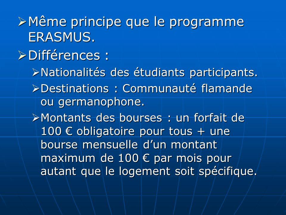 Même principe que le programme ERASMUS. Différences :