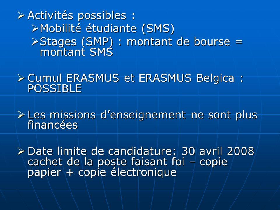 Activités possibles : Mobilité étudiante (SMS) Stages (SMP) : montant de bourse = montant SMS. Cumul ERASMUS et ERASMUS Belgica : POSSIBLE.