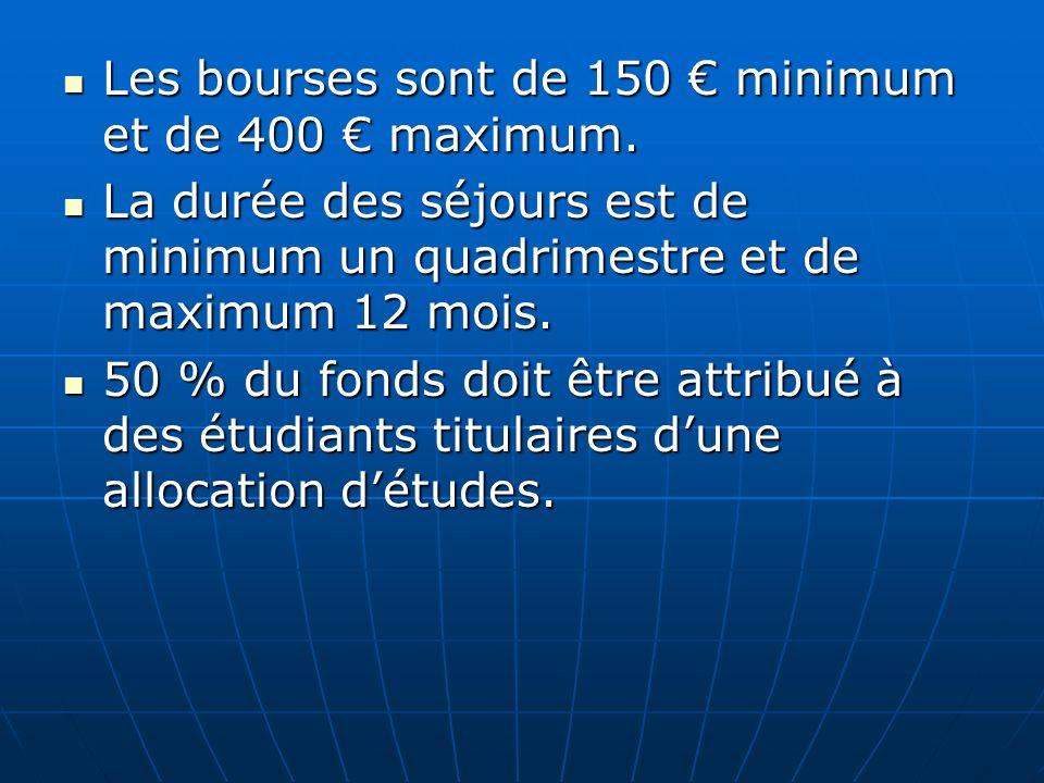 Les bourses sont de 150 € minimum et de 400 € maximum.