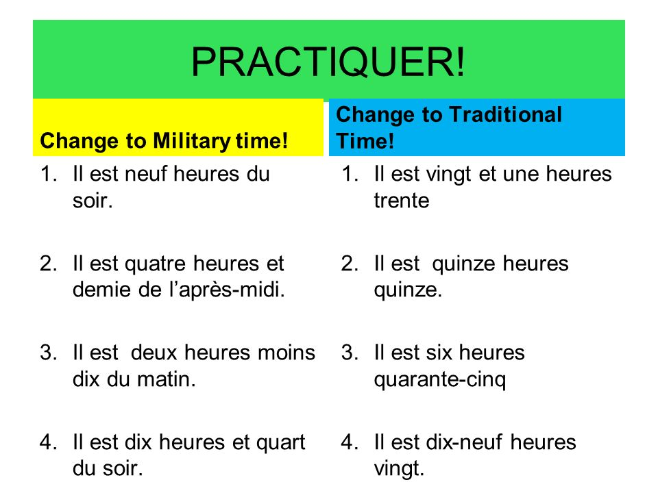 PRACTIQUER! Change to Military time! Change to Traditional Time!