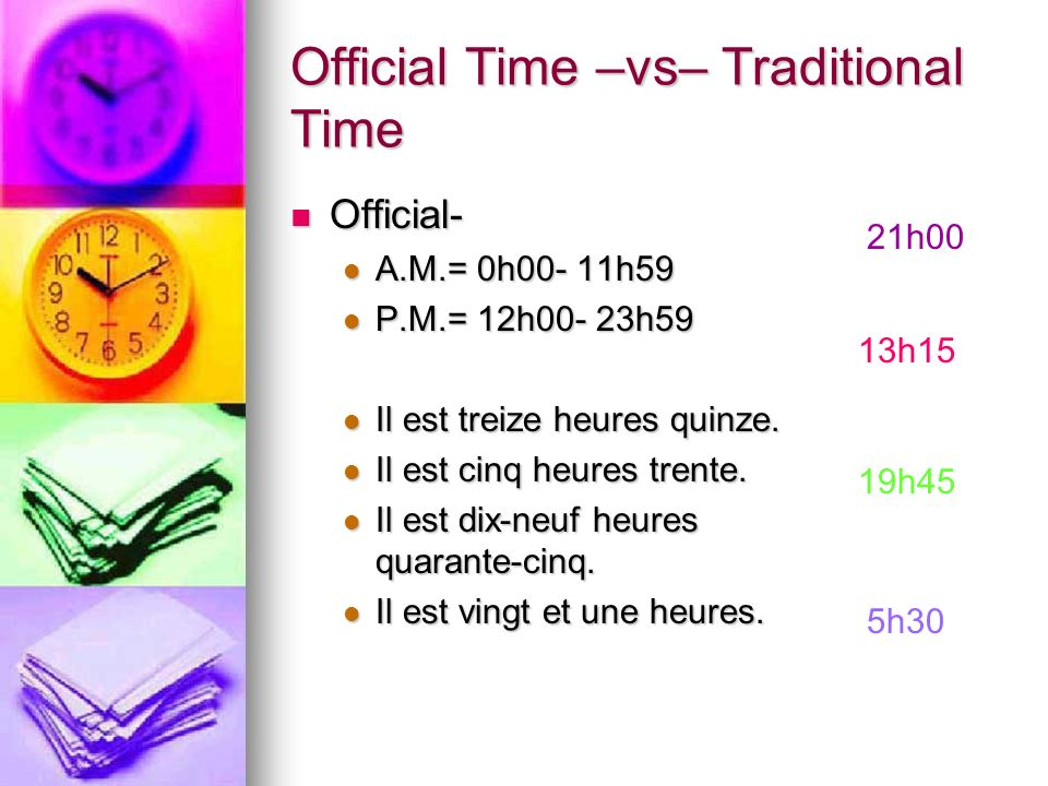 Official Time –vs– Traditional Time
