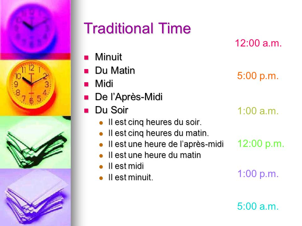 Traditional Time 12:00 a.m. Minuit Du Matin Midi 5:00 p.m.
