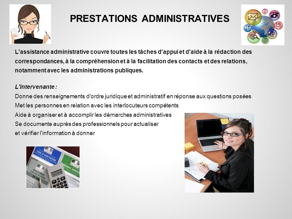 PRESTATIONS ADMINISTRATIVES