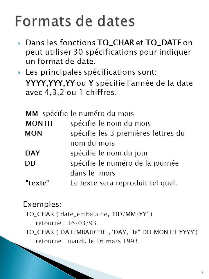 Formats de dates Dans les fonctions TO_CHAR et TO_DATE on peut utiliser 30 spécifications pour indiquer un format de date.