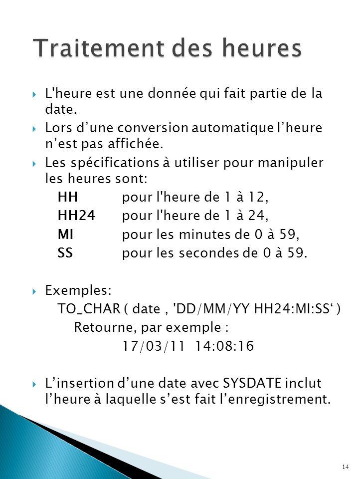 Traitement des heures L heure est une donnée qui fait partie de la date. Lors d'une conversion automatique l'heure n'est pas affichée.