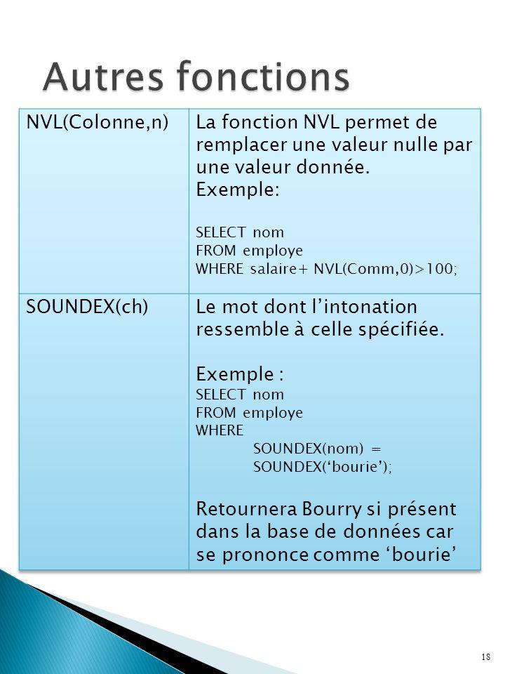 Autres fonctions NVL(Colonne,n)