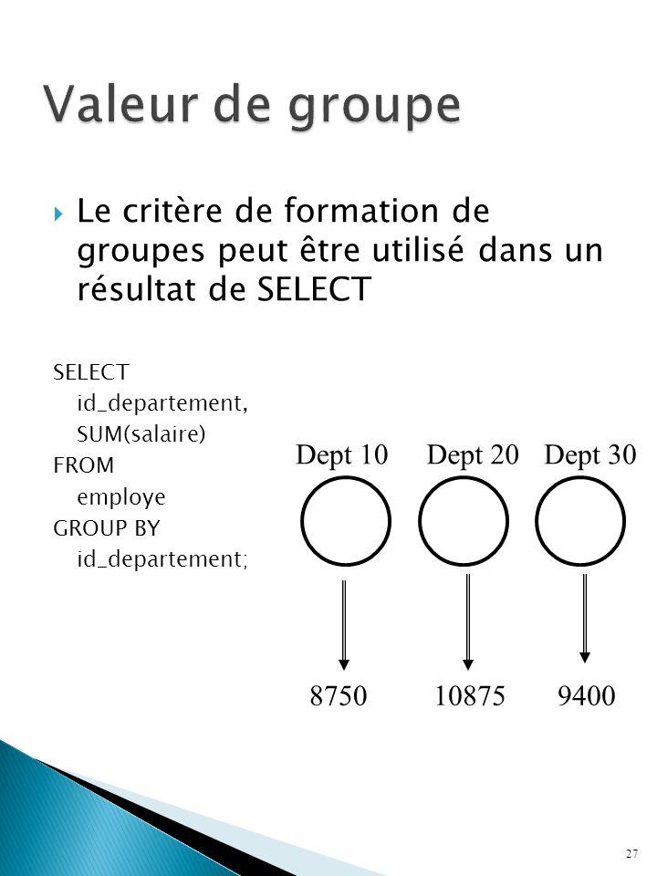 Valeur de groupe Le critère de formation de groupes peut être utilisé dans un résultat de SELECT.