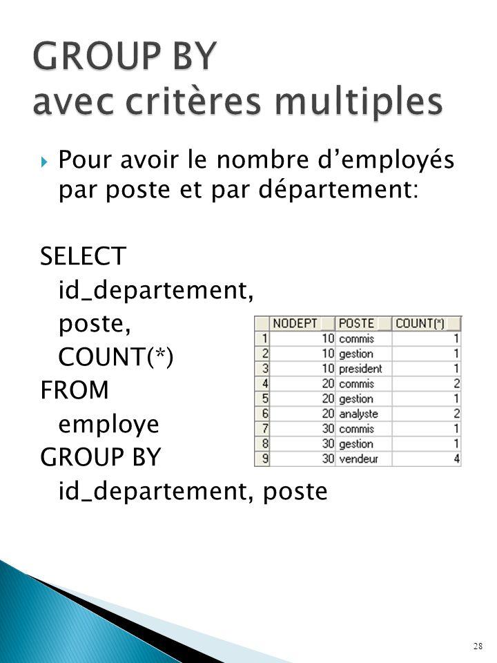 GROUP BY avec critères multiples