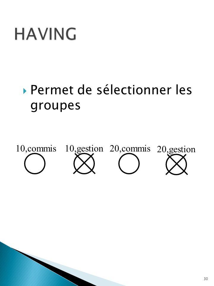 HAVING Permet de sélectionner les groupes 10,commis 10,gestion