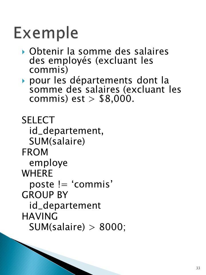 Exemple Obtenir la somme des salaires des employés (excluant les commis)
