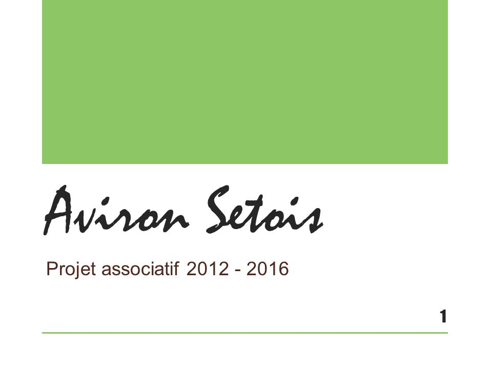 Aviron Setois Projet associatif 2012 - 2016