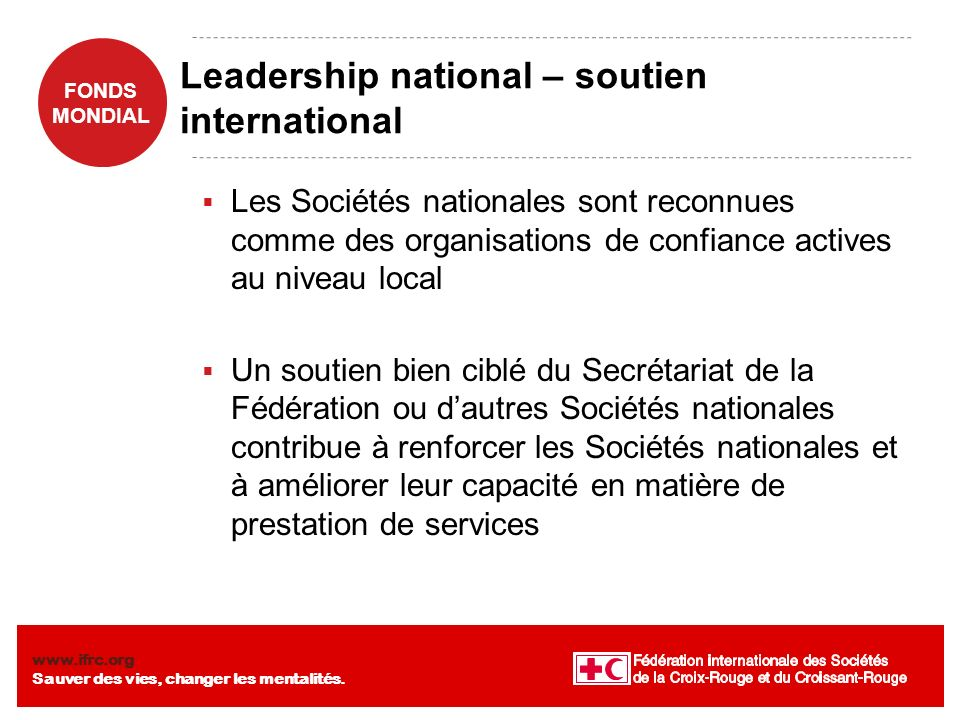 Leadership national – soutien international