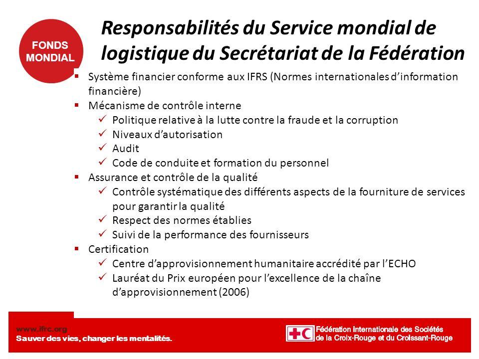 Responsabilités du Service mondial de logistique du Secrétariat de la Fédération